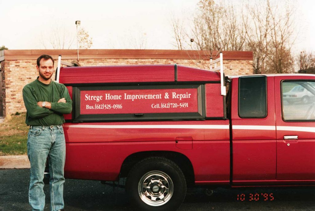 <strong>1995: Strege Home Improvement & Repair</strong><br> Tory Strege, owner of Skill-It! has been in the construction industry since 1991. Above is a photo of Tory in 1995 with his then company truck for Strege Home Improvement & Repair.